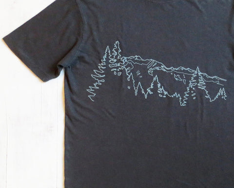 Men's Hemp Organic Cotton T-shirt Mountain Ridge - Grey - Uzura - PNW - Seattle, WA
