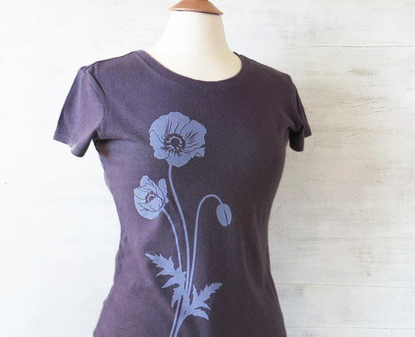Women's Hemp Organic Cotton T-Shirt with Poppy - Light Purple