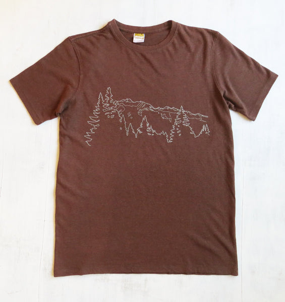 Hemp Organic Cotton T-shirt Mountain Ridge Brown Mens