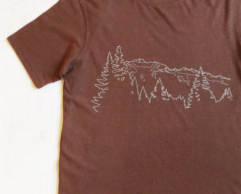 Men's Hemp Organic Cotton T-shirt Mountain Ridge Brown - Uzura - Seattle, WA - PNW