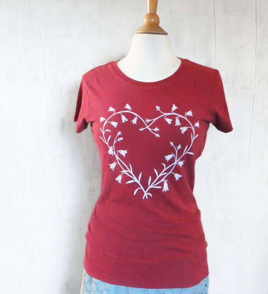 Women's Hemp Organic Cotton T-Shirt - Bluebell Heart - Red - Uzura - Seattle, WA - PNW