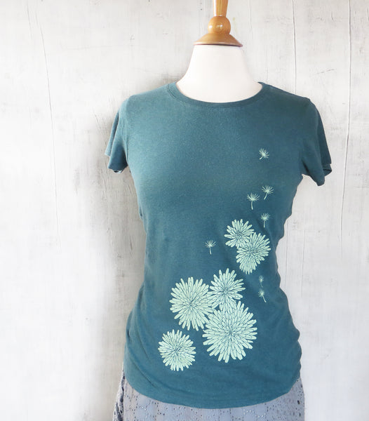 Women's Hemp Organic Cotton T-Shirt - Dandelion - Emerald Green - Uzura - Seattle, WA - PNW