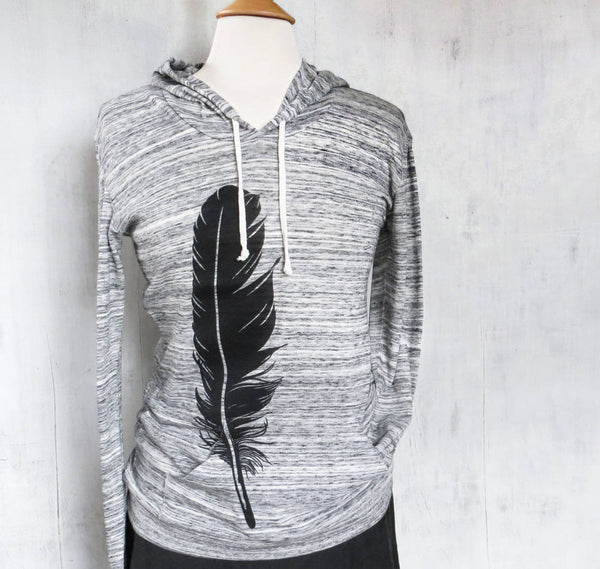 Womens Hoodie with Feather - Black and White