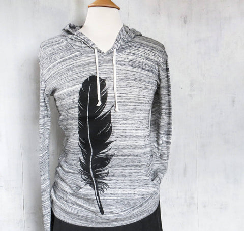 Organic Women's Lightweight Eco Hoodie - Feather - Heather Black and White - Uzura - Seattle, WA - PNW