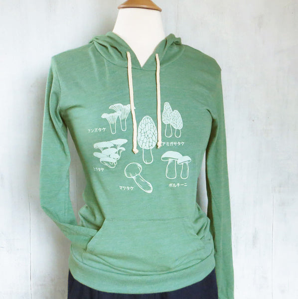 Women's Lightweight Eco Hoodie with Mushroom - Heather Green - Uzura - Seatte, WA - PNW