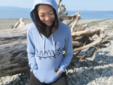 Womens Hoodie with Swallows - Blue