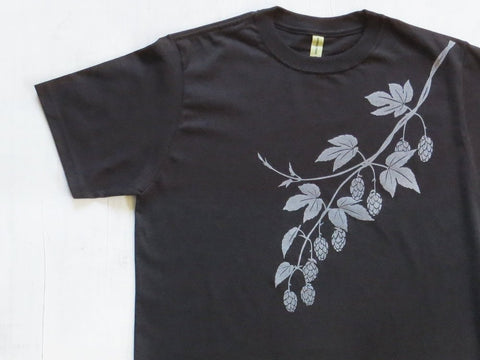 Men's Organic Cotton T-shirt - Hops - Black - Uzura - Seattle, WA - PNW