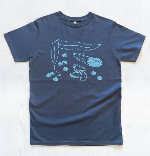 Men's Organic Cotton T-shirt with Shellfish  - Blue - Uzura - Seattle, WA - PNW