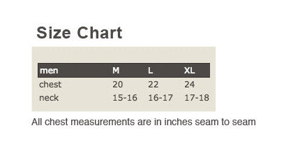 Hemp Organic Cotton T-shirt Mens Size Chart
