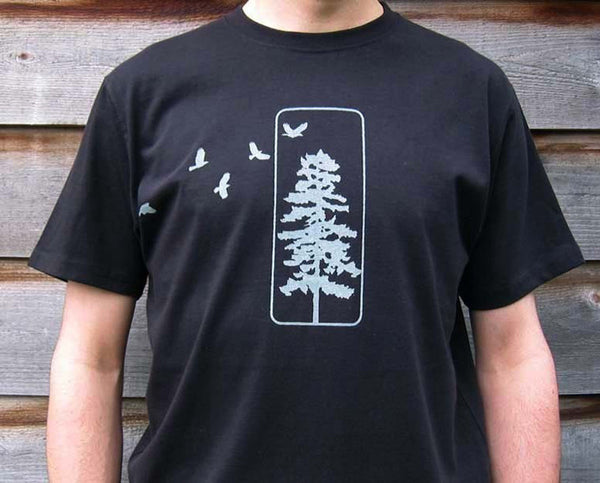 Mens Organic Cotton T-shirts Flying Crows and Pine Tree Black