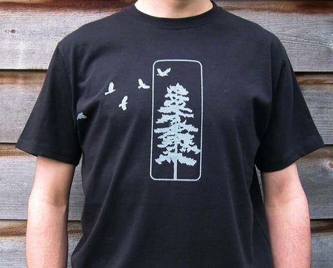 Men's Organic Cotton T-shirt - Flying Crows and Pine Tree - Black - Uzura - Seattle, WA - PNW