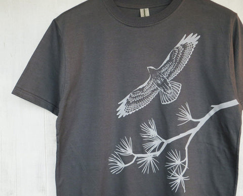 Men's Organic Cotton T-shirt - Hawk and Pine Tree - Grey - Uzura - Seattle, WA - PNW