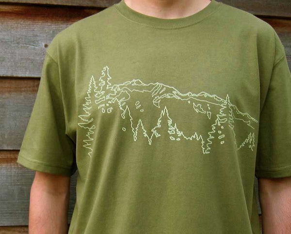 Mens Organic Cotton T-shirt Mountain Ridge Olive Green Uzura