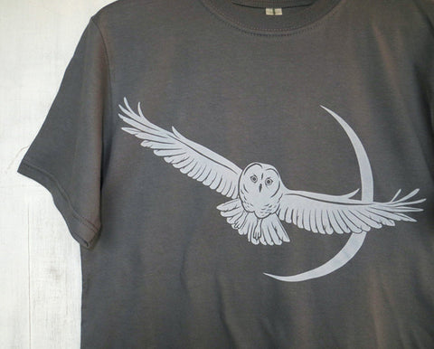Men's Organic Cotton T-Shirt with Owl and Moon - Grey - Uzura - Seattle, WA - PNW