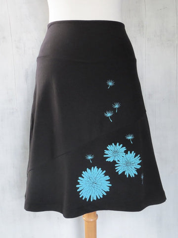 Women's Organic Cotton A-Line Skirt with Dandelion - Black - Uzura - Seattle, WA - PNW