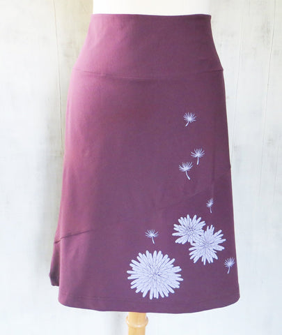 Women's Organic Cotton A-Line Skirt with Dandelion - Wine - Uzura - Seattle, WA - PNW