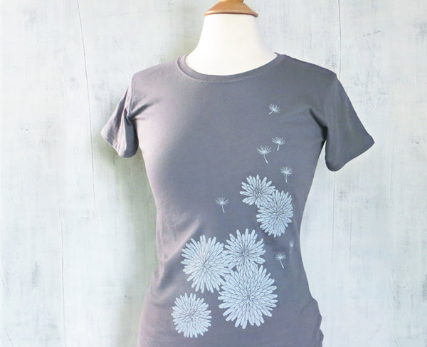 Women's Organic Cotton T-Shirt - Dandelion - Grey -  Uzura - Seattle, WA - PNW