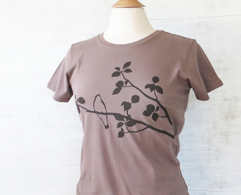 Womens Organic Cotton T-shirts Bird on Tree Light Brown