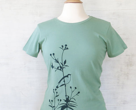 Womens Organic Cotton T-shirts Bird on Flower Turquoise
