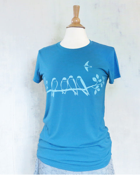 Women's Organic Cotton T-Shirt - Swallows - Blue - Uzura - Seattle, WA - PNW
