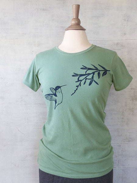 Women's Organic Cotton T-Shirt - Hummingbird - Turquoise - Uzura - Seattle, WA - PNW