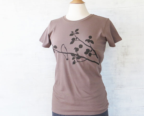 Women's Organic Cotton T-Shirt - Bird on Tree - Light Brown - Uzura - Seattle, WA - PNW