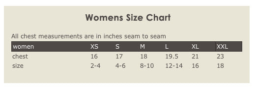 Womens Hemp Organic Cotton T-shirt Size Chart