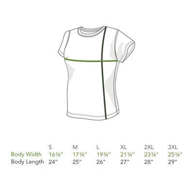 Womens Organic Cotton T-shirts Size Chart