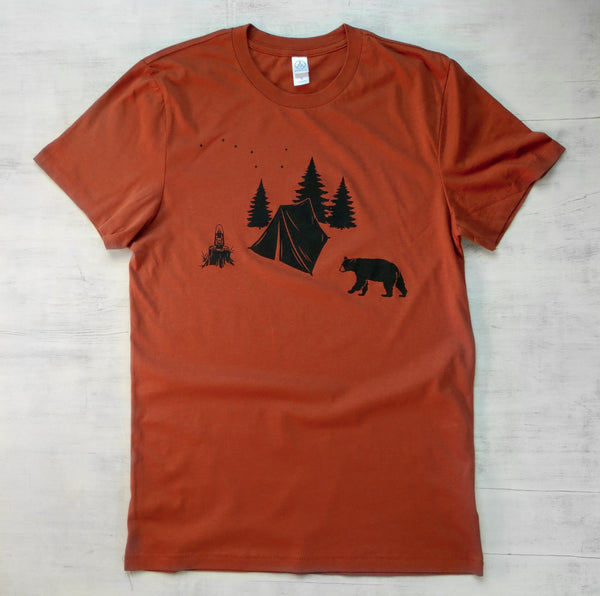 Unisex Organic Cotton T-shirt - Camping with Bear - Orange - Uzura - Seattle, WA - PNW