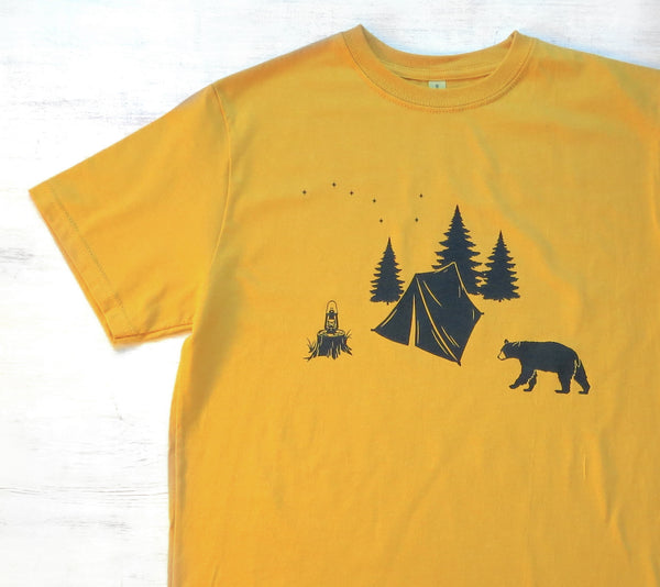 Men's Organic Cotton T-shirt - Camping with Bear - Golden Yellow - Uzura - Seattle, WA - PNW