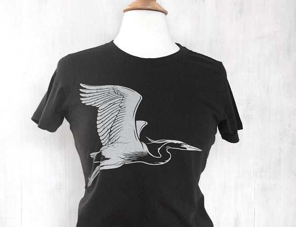 Women's Organic Cotton T-Shirt - Blue Heron - Black - Uzura - Seattle, WA - PNW