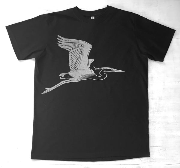 Men's Organic Cotton T-shirt - Flying Blue Heron - Black - Uzura - Seattle, WA - PNW
