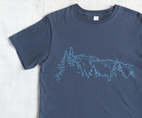 Men's Organic Cotton T-shirt - Mountain Ridge - Blue - Uzura - Seattle, WA - PNW