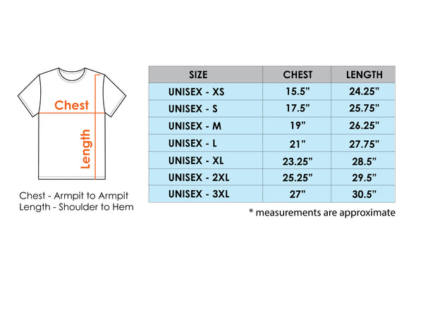 Organic cotton t shirt for men and women size chart