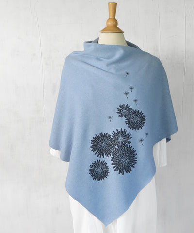Women's Hemp Organic Cotton Bamboo Poncho - Dandelion Flowers - Light Blue - Uzura - Seattle, WA - PNW