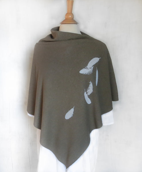 Women's Hemp Organic Cotton Bamboo Poncho - Feathers - Army Green - Uzura - Seattle, WA - PNW