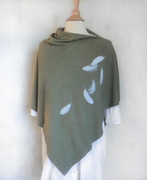 Women's Hemp Organic Cotton Poncho - Feathers - Army Green - Uzura - Seattle, WA - PNW