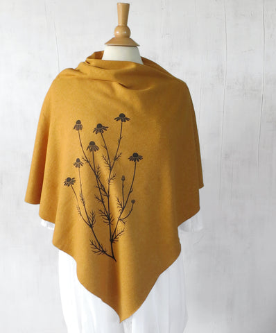 Women's Hemp Organic Cotton Bamboo Poncho - Chamomile Flowers - Mustard Yellow - Uzura - Seattle, WA - PNW
