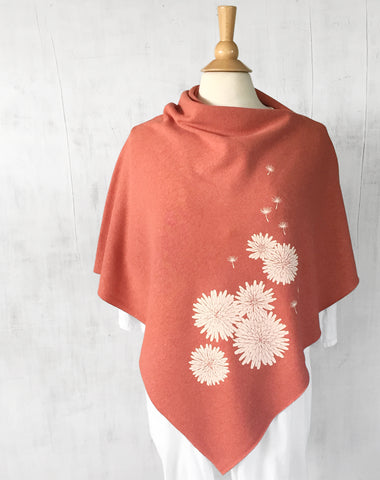 Women's Hemp Organic Cotton Bamboo Poncho - Dandelion Flowers - Coral Orange - Uzura - Seattle, WA - PNW