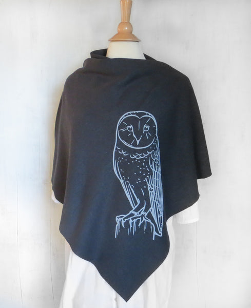 Women's Hemp Organic Cotton Bamboo Poncho - Barn Owl - Black - Uzura - Seattle, WA - PNW