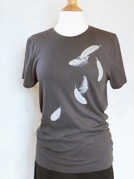 Womens Organic Cotton T-shirt Falling Feathers Gray