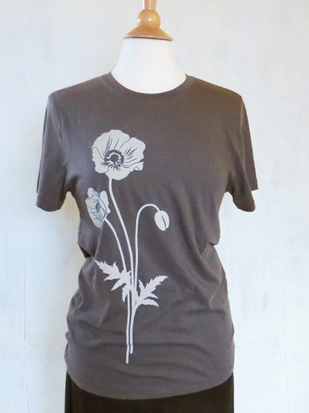 Unisex Organic Cotton T-Shirt - Poppy - Grey - Uzura - Seattle, WA - PNW
