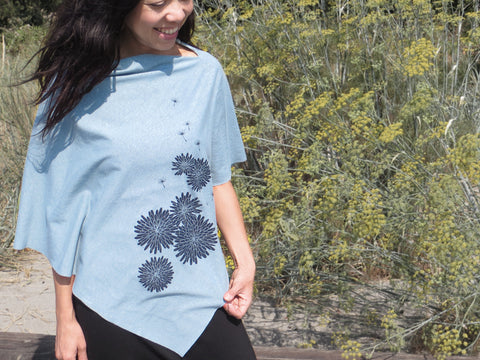 Hemp / Organic Cotton Lightweight Poncho with Dandelion - Teal
