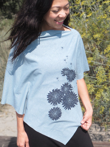 Women's Hemp / Organic Cotton Lightweight Poncho - Dandelion - Teal - Uzura - Seattle, WA - PNW
