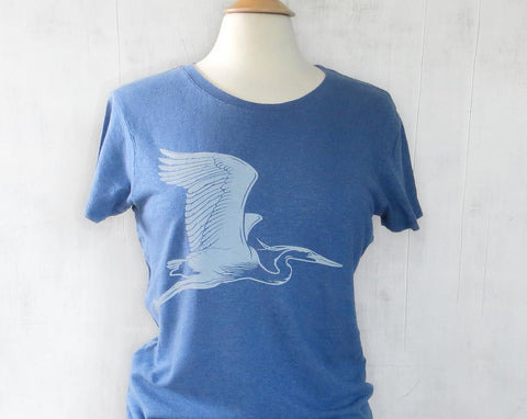 Women's Hemp Organic Cotton T-Shirt with Great Blue Heron - Blue