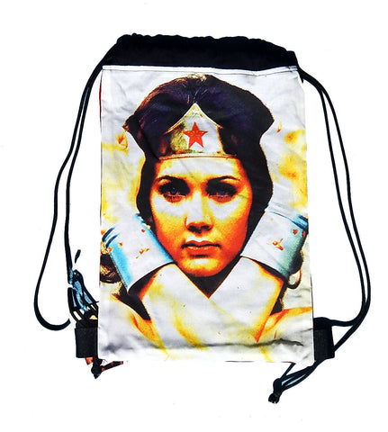 Old School Wonder Woman Drawstring Backpack