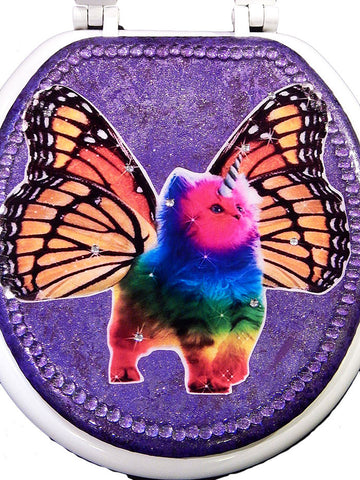 Custom Rainbow Unicorn Butterfly Kitty Toilet Seat