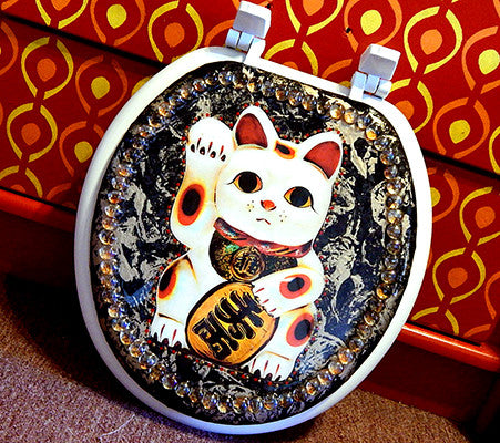 Custom Lucky Cat Toilet Seat