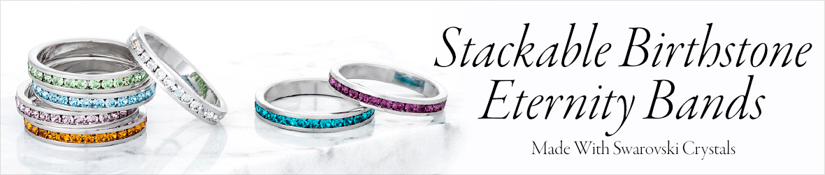 Stackable Birthstone Eternity Bands Made With Swarovski Crystals