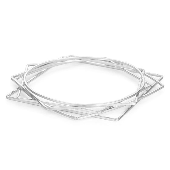 Silver Geometric 5-Bangle Set